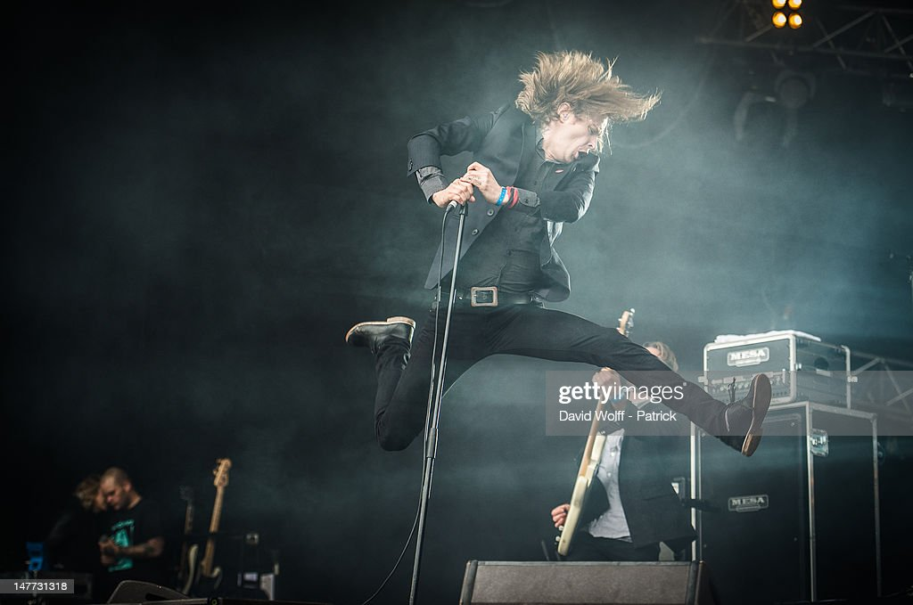 Dennis Lyxzen from Refused performs at Eurockeennes Music Festival on July 1, 2012 in Belfort, France.