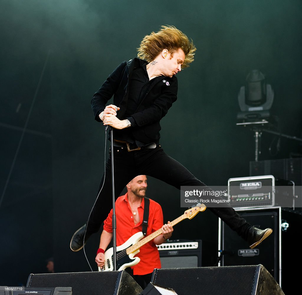 Dennis Lyxzen of Swedish hardcore punk band Refused, performing live onstage at Download Festival, June 10, 2012.