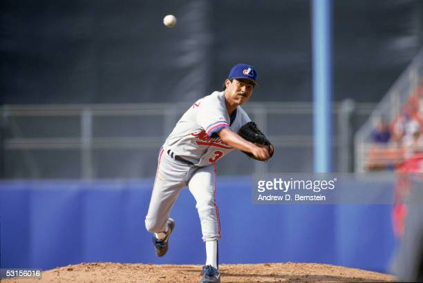Dennis Martinez of the Montreal Expos pitches during the game against the Los Angeles Dodgers at Dodger Stadium on July 61992 in Los Angeles...