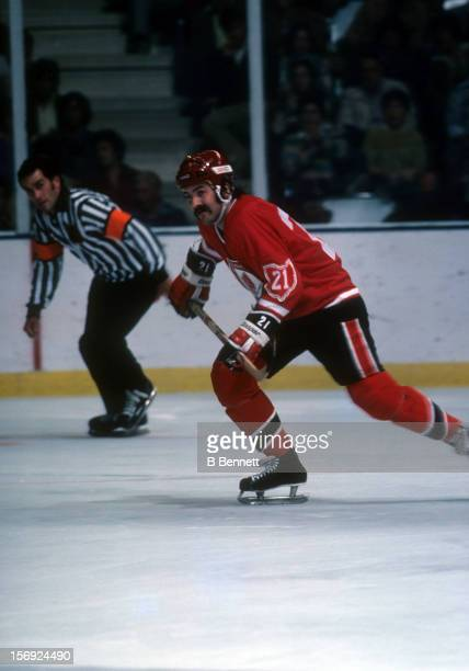 Dennis Maruk of the Cleveland Barons skates on the ice during an NHL game against the New York Islanders on October 16 1976 at the Nassau Coliseum in...