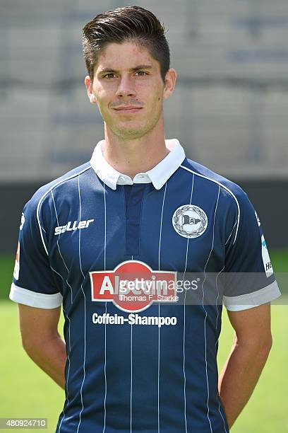Dennis Mast poses during the Second Bundesliga team presentation of Arminia Bielefeld at Schueco Arena on July 16 2015 in Bielefeld Germany