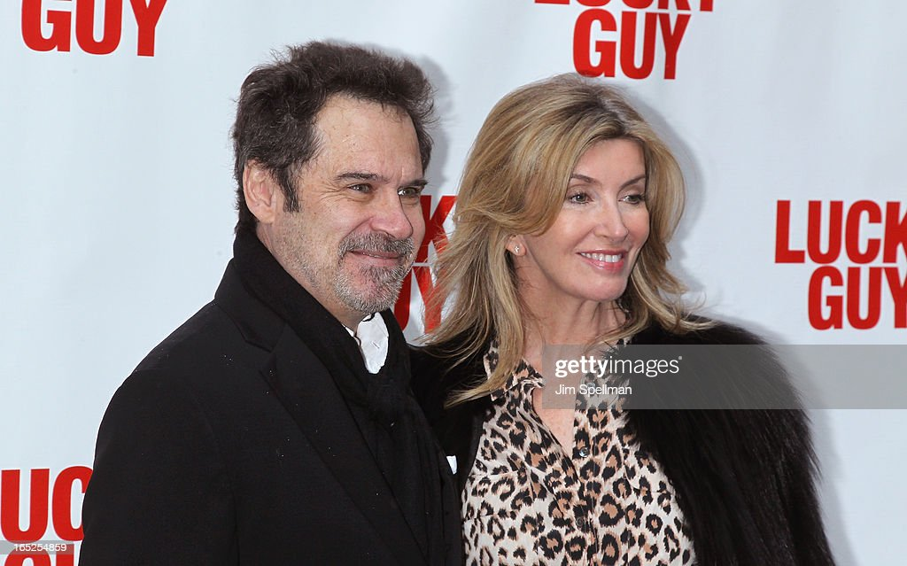 Dennis Miller and wife attend the 'Lucky Guy' Broadway Opening Night - Arrivals & Curtain Call at The Broadhurst Theatre on April 1, 2013 in New York City.