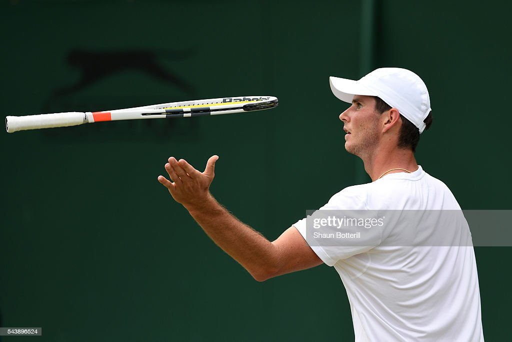 Dennis Novikov of the United States reacts during the Men's Singles second round match against Joao Sousa of Portugal on day four of the Wimbledon Lawn Tennis Championships at the All England Lawn Tennis and Croquet Club on June 30, 2016 in London, England.