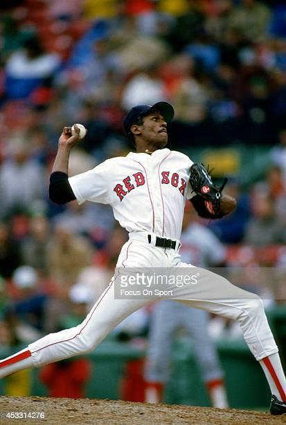 Dennis 'Oil Can' Boyd of the Boston Red Sox pitches during an Major League Baseball game circa 1985 at Fenway Park in Boston Massachusetts Boyd...