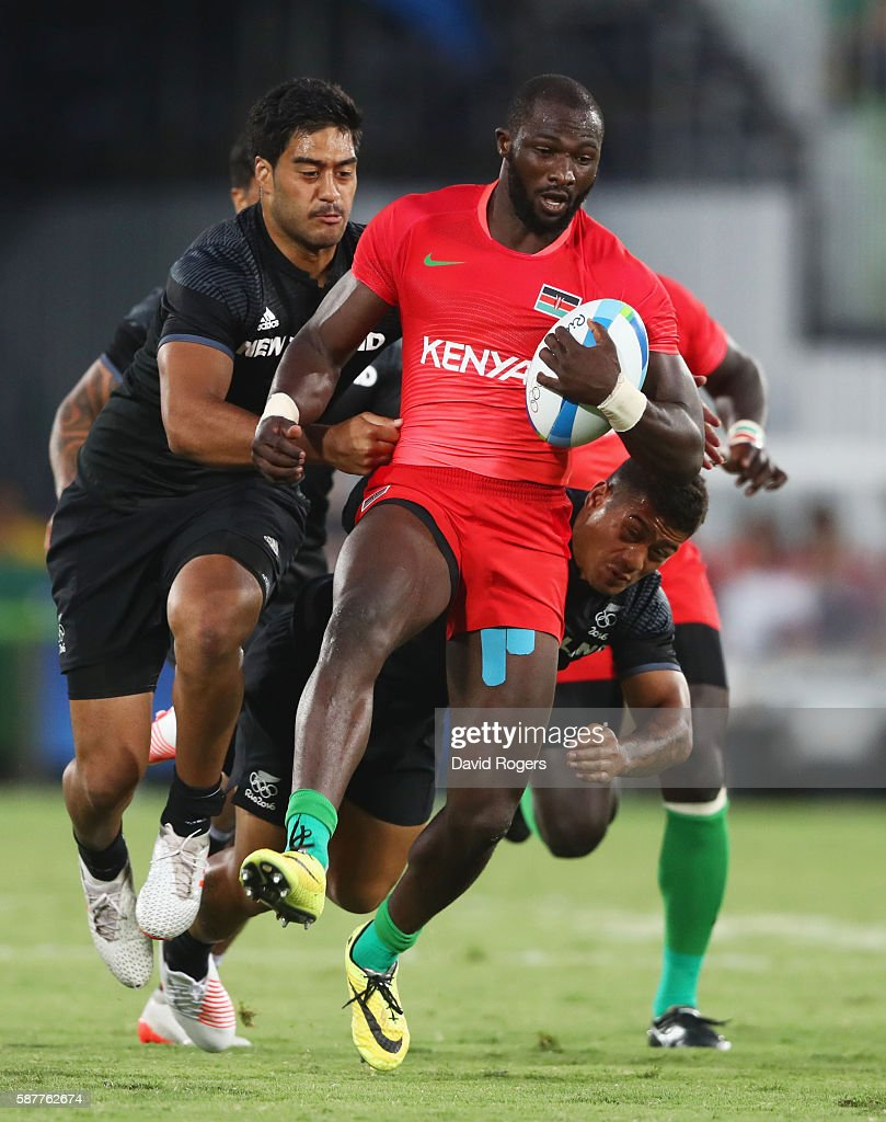Dennis Ombachi of Kenya is tackled by Akira Ioane of New Zealand during the Men's Rugby Sevens Pool C match between New Zealand and Kenya on Day 4 of...