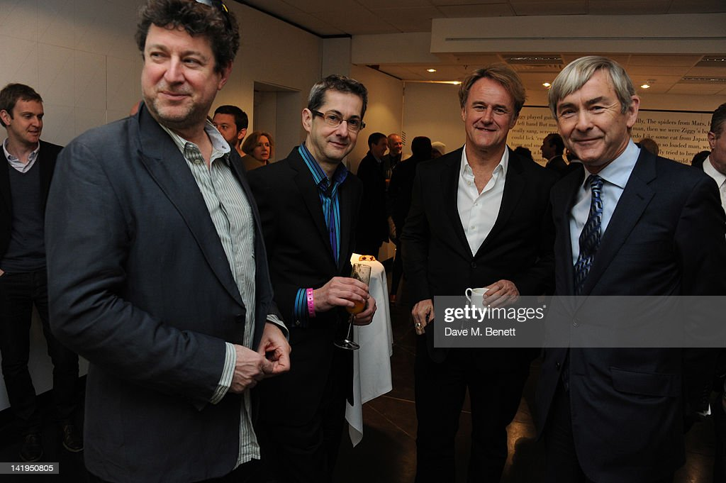 Dennis O'Regan (L), Steve Jagger (2nd R) and David Shaw (R) attend the unveiling of a plaque dedicated to David Bowie's famous character Ziggy Stardust on March 27, 2012 in London, England. The plaque has been installed on Heddon Street, London, which was the location of the album cover photograph for 'The Rise and Fall of Ziggy Stardust and the Spiders from Mars'.