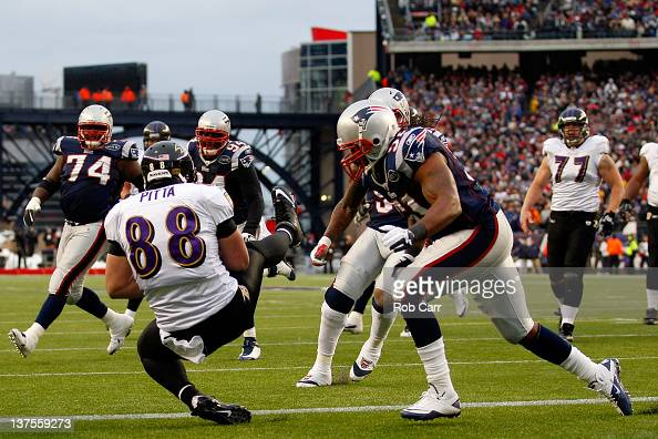 Dennis Pitta of the Baltimore Ravens catches a touchdown in the second quater against Jerod Mayo of the New England Patriots during their AFC...