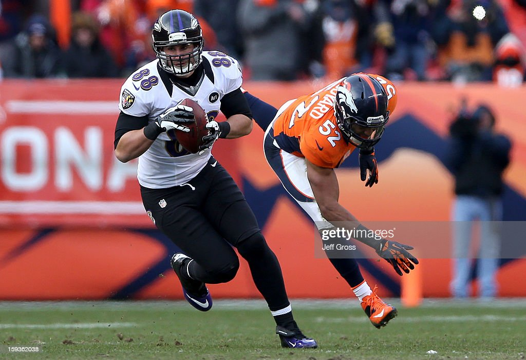 <a gi-track='captionPersonalityLinkClicked' href=/galleries/search?phrase=Dennis+Pitta&family=editorial&specificpeople=5516841 ng-click='$event.stopPropagation()'>Dennis Pitta</a> #88 of the Baltimore Ravens makes a reception against <a gi-track='captionPersonalityLinkClicked' href=/galleries/search?phrase=Wesley+Woodyard&family=editorial&specificpeople=2190018 ng-click='$event.stopPropagation()'>Wesley Woodyard</a> #52 of the Denver Broncos during the AFC Divisional Playoff Game at Sports Authority Field at Mile High on January 12, 2013 in Denver, Colorado.