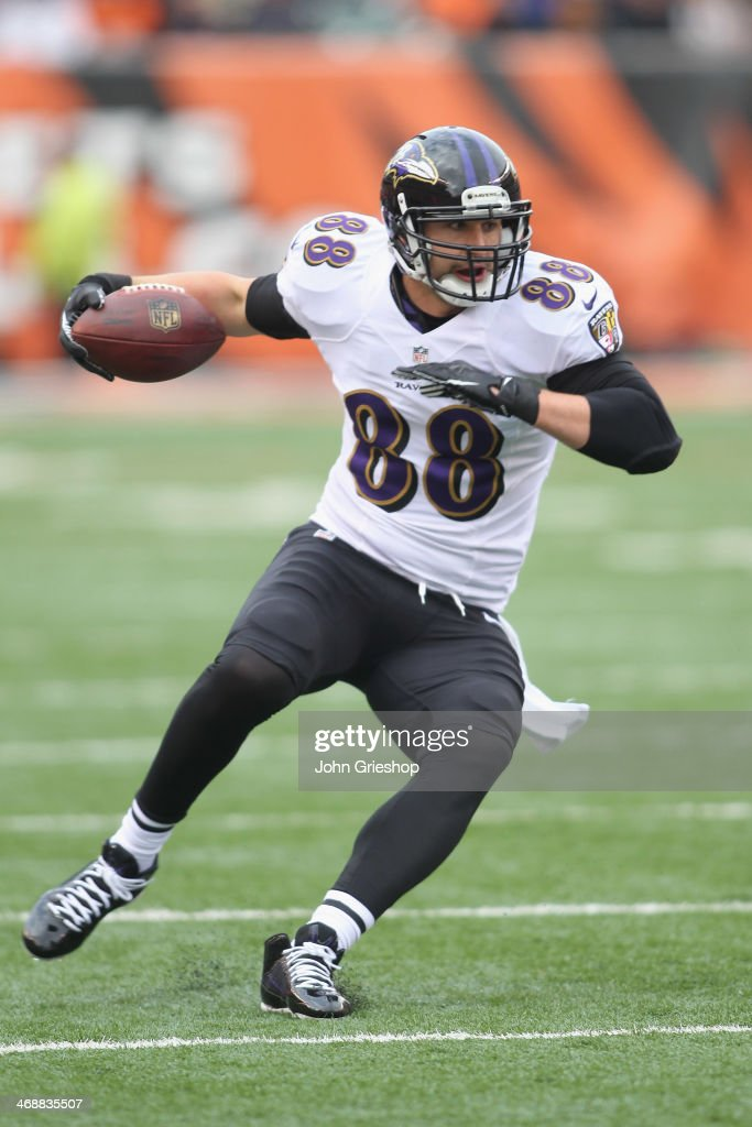 <a gi-track='captionPersonalityLinkClicked' href=/galleries/search?phrase=Dennis+Pitta&family=editorial&specificpeople=5516841 ng-click='$event.stopPropagation()'>Dennis Pitta</a> #88 of the Baltimore Ravens runs the football upfield during the game against the Cincinnati Bengals at Paul Brown Stadium on December 29, 2013 in Cincinnati, Ohio.