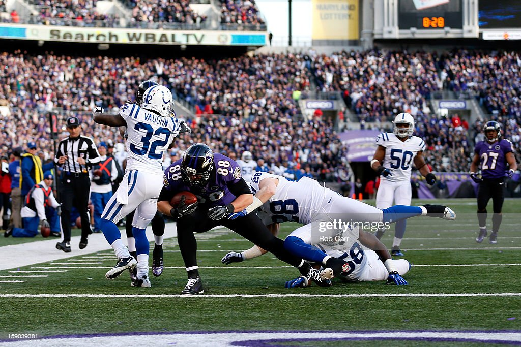 Dennis Pitta #88 of the Baltimore Ravens scores a 20-yard touchdown reception in the third quarter against Moise Fokou #58 of the Indianapolis Colts during the AFC Wild Card Playoff Game at M&T Bank Stadium on January 6, 2013 in Baltimore, Maryland.