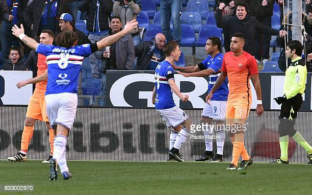 Dennis Praet celebrates with teammates after scoring goal 11 during the Serie A match between UC Sampdoria and AS Roma at Stadio Luigi Ferraris on...