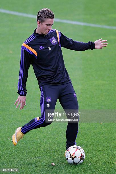Dennis Praet in action during the RSC Anderlecht Training Session held at Constant Vanden Stock Stadium on October 21 2014 in Brussels Belgium...