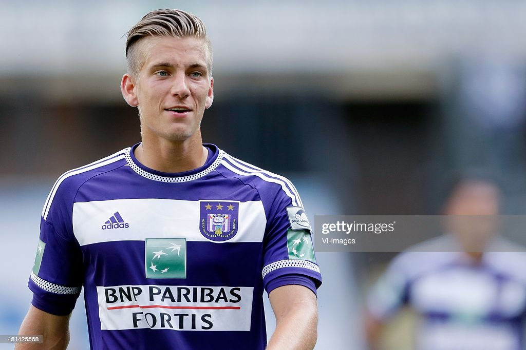 <a gi-track='captionPersonalityLinkClicked' href=/galleries/search?phrase=Dennis+Praet&family=editorial&specificpeople=8569027 ng-click='$event.stopPropagation()'>Dennis Praet</a> of Anderlecht during the pre-season friendly match between RSC Anderlecht and SS Lazio Roma on July 19, 2015 at the Constant Vanden Stock stadium in Brussels, Belgium.