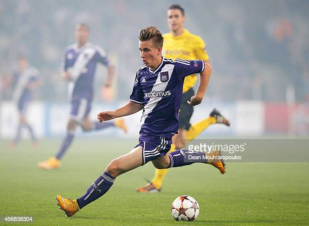 Dennis Praet of Anderlecht in action during the Group D UEFA Champions League match between RSC Anderlecht and Borussia Dortmund held at Constant...