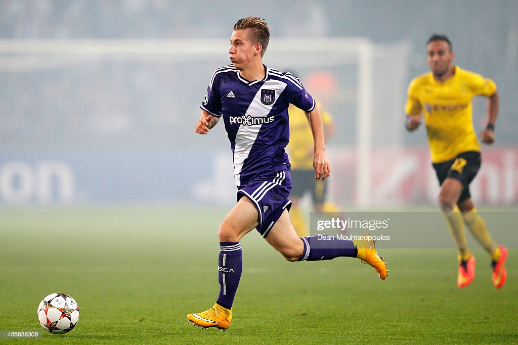 <a gi-track='captionPersonalityLinkClicked' href=/galleries/search?phrase=Dennis+Praet&family=editorial&specificpeople=8569027 ng-click='$event.stopPropagation()'>Dennis Praet</a> of Anderlecht in action during the Group D UEFA Champions League match between RSC Anderlecht and Borussia Dortmund held at Constant Vanden Stock Stadium on October 1, 2014 in Anderlecht, Belgium.