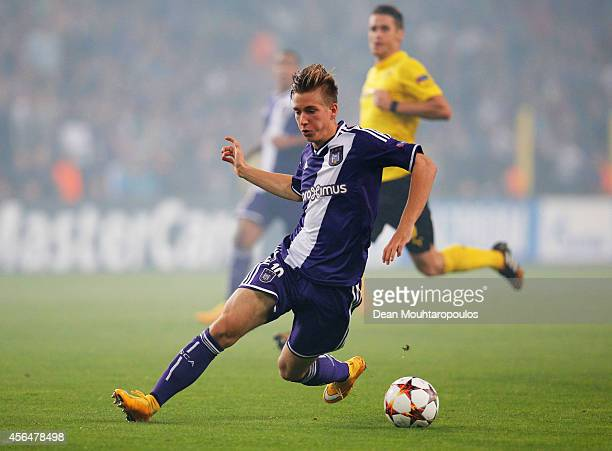 Dennis Praet of Anderlecht in action during the UEFA Champions League Group D match between RSC Anderlecht and Borussia Dortmund at Constant Vanden...