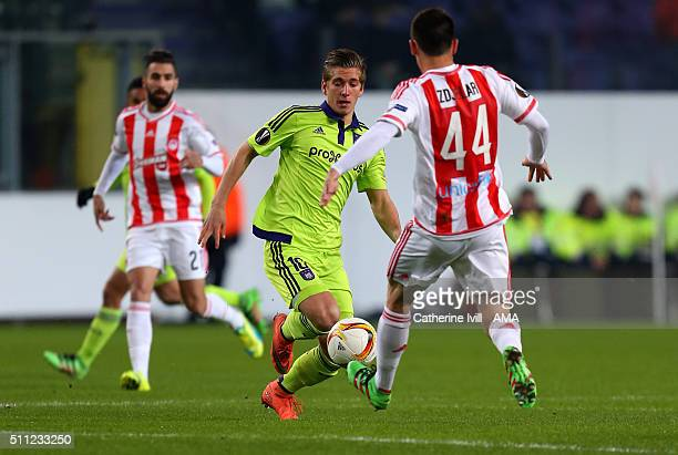 Dennis Praet of Anderlecht in action during the UEFA Europa League match between Anderlecht and Olympiakos FC at Constant Vanden Stock Stadium on...