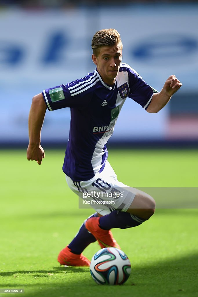 <a gi-track='captionPersonalityLinkClicked' href=/galleries/search?phrase=Dennis+Praet&family=editorial&specificpeople=8569027 ng-click='$event.stopPropagation()'>Dennis Praet</a> of Anderlecht in action the Belgiun Jupilar League match between RSC Anderlecht and Waasland-Beveren at Constant Vanden Stock Stadium on August 24, 2014 in Brussels, Belgium.