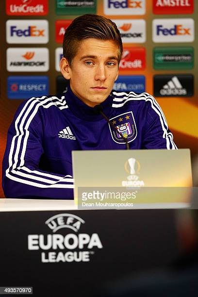 Dennis Praet of Anderlecht speaks to the media during a RSC Anderlecht training press conference ahead of the UEFA Europa League match against...
