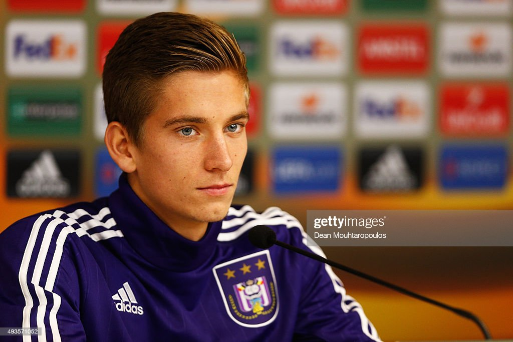 <a gi-track='captionPersonalityLinkClicked' href=/galleries/search?phrase=Dennis+Praet&family=editorial&specificpeople=8569027 ng-click='$event.stopPropagation()'>Dennis Praet</a> of Anderlecht speaks to the media during a RSC Anderlecht training press conference ahead of the UEFA Europa League match against Tottenham Hotspur at Constant Vanden Stock Stadium on October 21, 2015 in Brussels, Belgium.