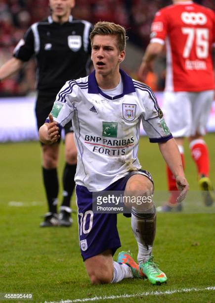 Dennis Praet of Rsc Anderlecht during the Jupiler League match between Standard Liege and RSC Anderlecht on December 22 2013 in Liege Belgium