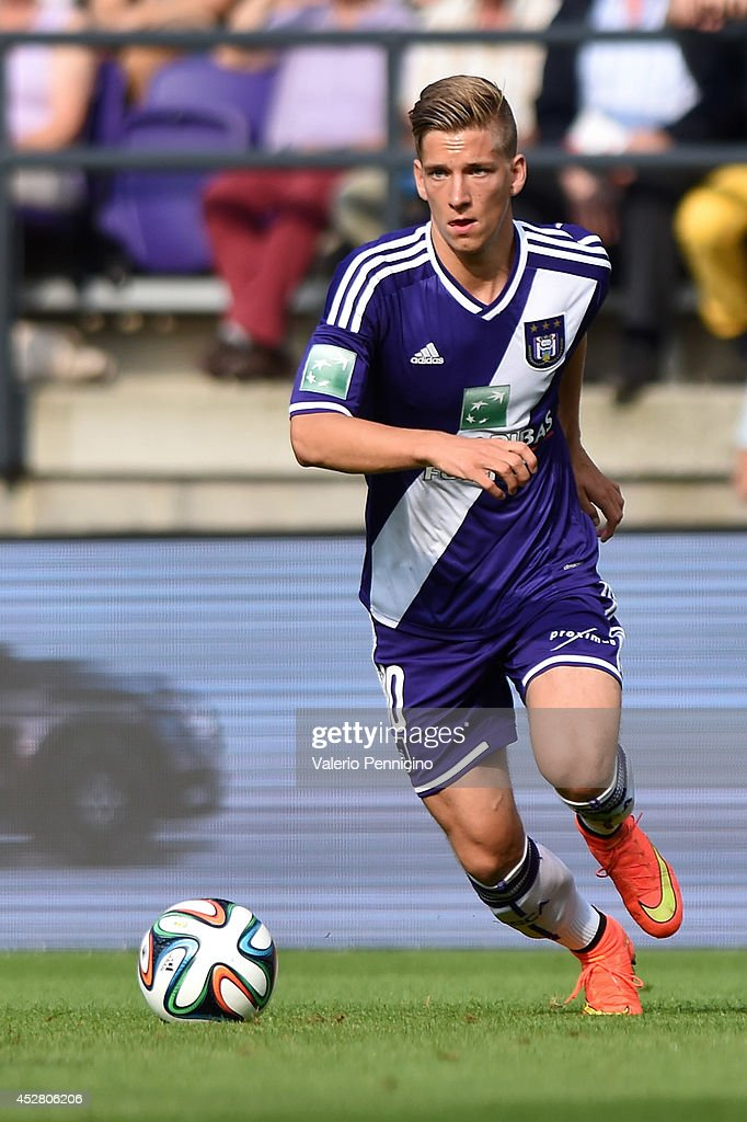 <a gi-track='captionPersonalityLinkClicked' href=/galleries/search?phrase=Dennis+Praet&family=editorial&specificpeople=8569027 ng-click='$event.stopPropagation()'>Dennis Praet</a> of RSC Anderlecht in action during the Jupiler Pro League match between RSC Anderlecht and Royal Mouscron Peruwelz at Constant Vanden Stock Stadium on July 27, 2014 in Brussels, Belgium.