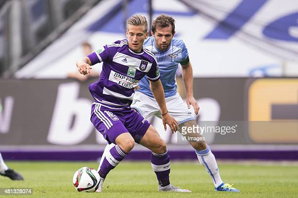 Dennis Praet of RSC Anderlecht Senad Lulic of SS Lazio Roma during the preseason friendly match between RSC Anderlecht and SS Lazio Roma on July 19...
