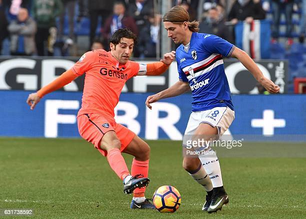 Dennis Praet of Sampdoria and Daniele Croce of Empoli during the Serie A match between UC Sampdoria and Empoli FC at Stadio Luigi Ferraris on January...