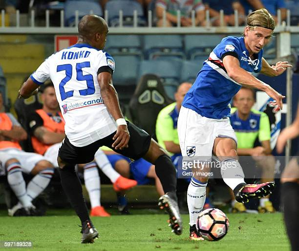 Dennis Praet of UC Sampdoria battles for the ball with Abdoulay Konko of Atalanta BC during the Serie A match between UC Sampdoria and Atalanta BC at...