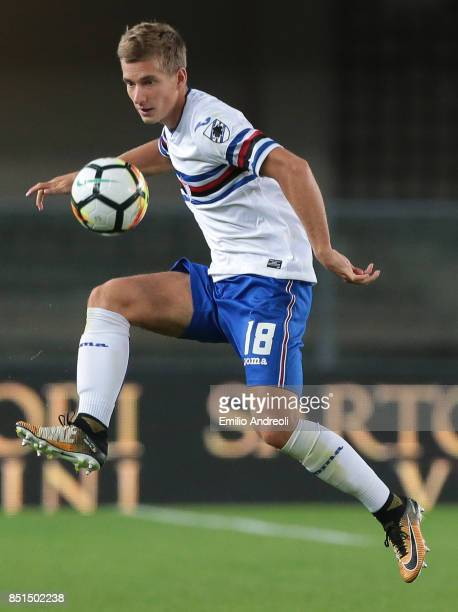 Dennis Praet of UC Sampdoria controls the ball during the Serie A match between Hellas Verona FC and UC Sampdoria at Stadio Marc'Antonio Bentegodi on...