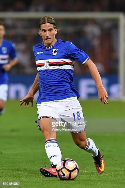 Dennis Praet of UC Sampdoria in action during the Serie A match between UC Sampdoria and AC Milan at Stadio Luigi Ferraris on September 16 2016 in...
