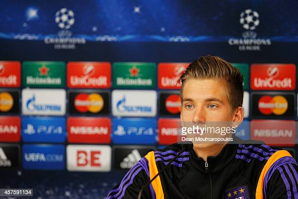 Dennis Praet speaks to the media during the RSC Anderlecht Press Conference held at Constant Vanden Stock Stadium on October 21 2014 in Brussels...