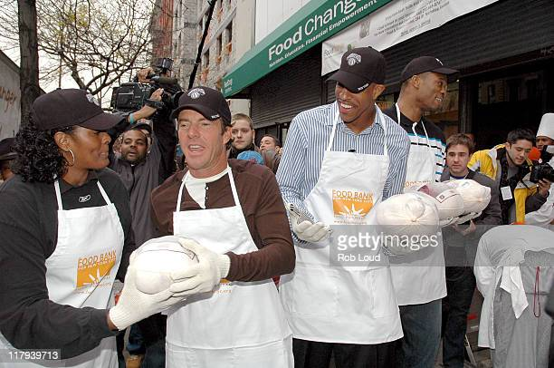 Dennis Quaid and Jerome Williams during Dennis Quaid and the New York Knicks Visit the FoodChange Community Kitchen in New York City November 21 2005...