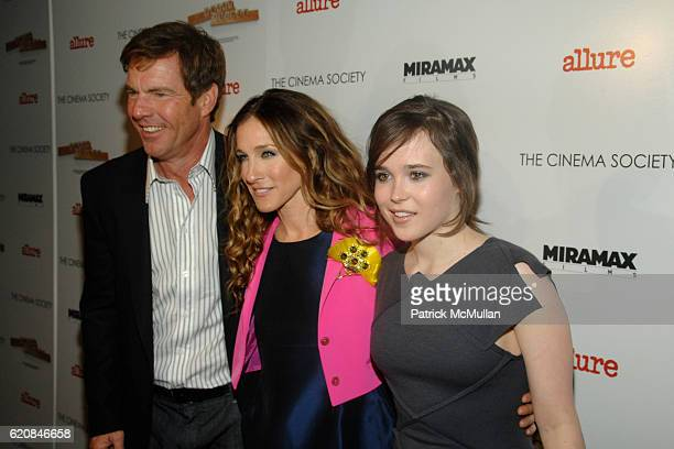 Dennis Quaid Sarah Jessica Parker and Ellen Page attend The Cinema Society and Linda Wells present a screening of Smart People at Landmark Sunshine...