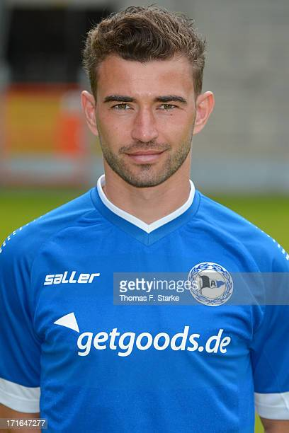 Dennis Riemer poses during the Second Bundesliga team presentation of Arminia Bielefeld at Schueco Arena on June 27 2013 in Bielefeld Germany