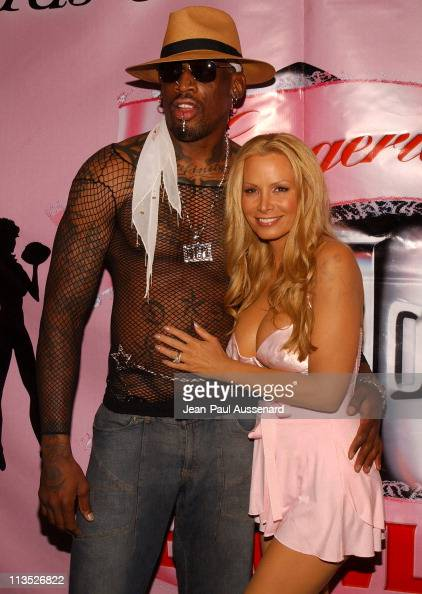 Dennis Rodman and Cindy Margolis during Lingerie Bowl III National Kick Off Party at Cabana Club in Hollywood California United States