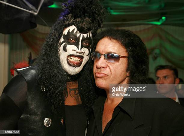 Dennis Rodman and Gene Simmons during Dennis Rodman Hosts Halloween Party at Tangerine at Tangerine in Las Vegas Nevada United States