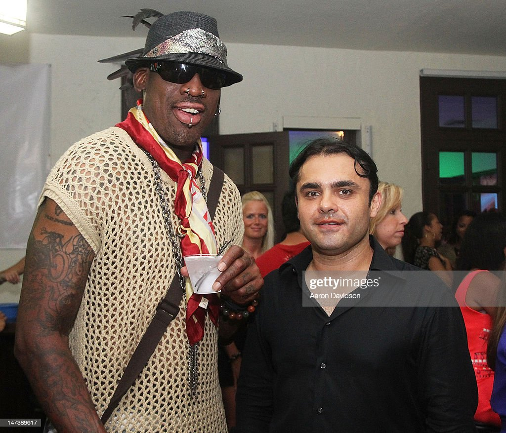 Dennis Rodman and Hamed Wardak attend Irie Weekend Carnivale Kick-Off Event on June 28, 2012 in Miami Beach, Florida.