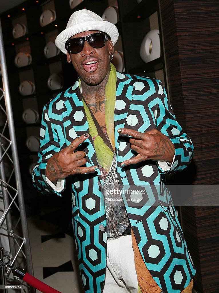 Dennis Rodman arrives at the Blacks' Annual Gala at Fontainebleau Miami Beach on April 13 2013 in Miami Beach Florida