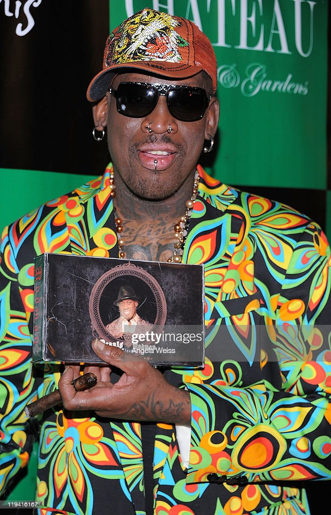 <a gi-track='captionPersonalityLinkClicked' href=/galleries/search?phrase=Dennis+Rodman&family=editorial&specificpeople=202643 ng-click='$event.stopPropagation()'>Dennis Rodman</a> arrives to the launch of WB Brand Cigar Line at Chateau Nightclub & Gardens at Paris Las Vegas on July 19, 2011 in Las Vegas, Nevada.