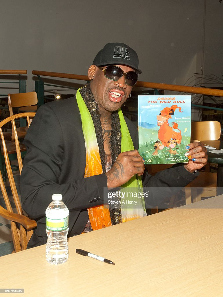 Dennis Rodman attends a signing of his new book 'Dennis The Wild Bull' at Book Revue on February 5 2013 in Huntington New York