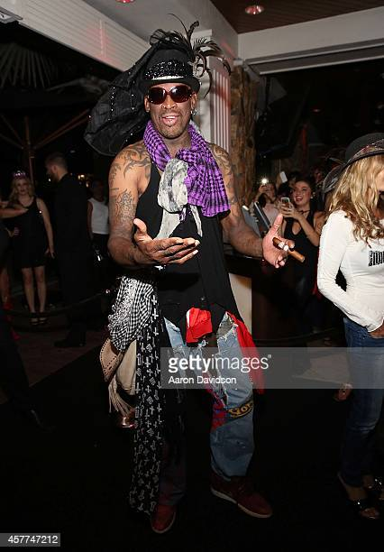 Dennis Rodman attends Berman and Berman Fright Night at Blue Martini on October 23 2014 in Boca Raton Florida