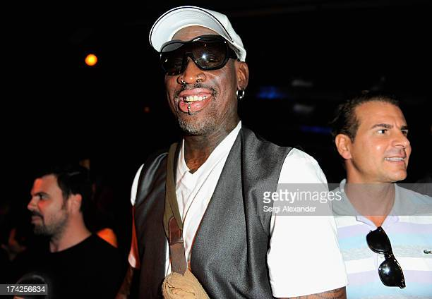 Dennis Rodman attends the Minimale Animale show during MercedesBenz Fashion Week Swim 2014 at Oasis at the Raleigh on July 22 2013 in Miami Florida