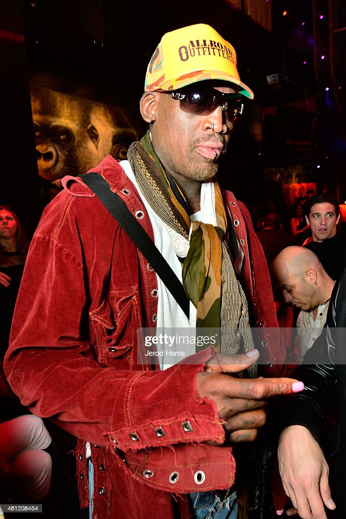 Dennis Rodman attends WE tv's joint premiere party for 'Marriage Boot Camp Reality Stars' and 'David Tutera's CELEBrations' at 1 OAK on January 8...