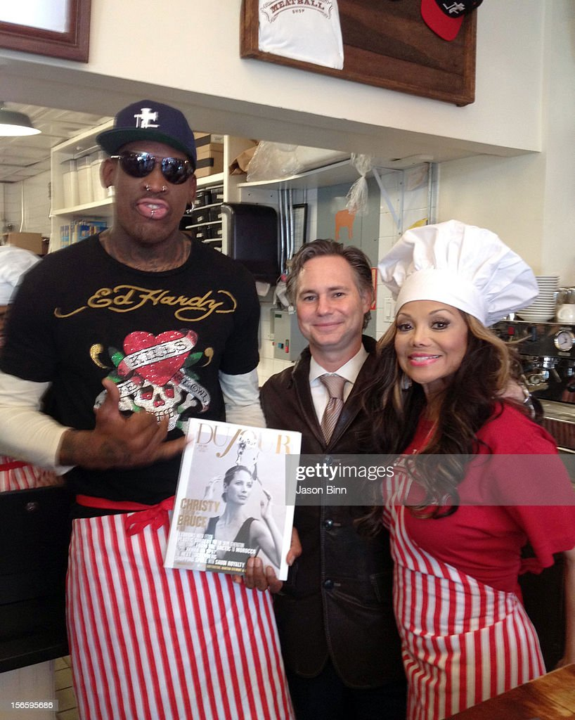 Dennis Rodman, DuJour Magazine's Jason Binn and Janet Jackson pose circa October 2012 in New York City.