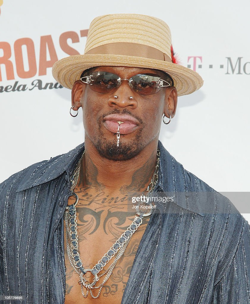 <a gi-track='captionPersonalityLinkClicked' href=/galleries/search?phrase=Dennis+Rodman&family=editorial&specificpeople=202643 ng-click='$event.stopPropagation()'>Dennis Rodman</a> during Comedy Central Roast of Pamela Anderson - Arrivals at Sony Studios / Stage 15 in Culver City, California, United States.