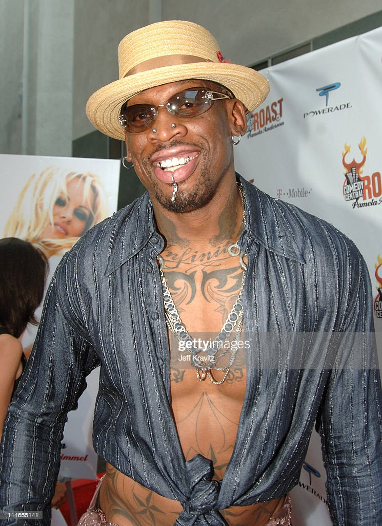 <a gi-track='captionPersonalityLinkClicked' href=/galleries/search?phrase=Dennis+Rodman&family=editorial&specificpeople=202643 ng-click='$event.stopPropagation()'>Dennis Rodman</a> during Comedy Central Roast of <a gi-track='captionPersonalityLinkClicked' href=/galleries/search?phrase=Pamela+Anderson&family=editorial&specificpeople=171759 ng-click='$event.stopPropagation()'>Pamela Anderson</a> - Red Carpet at Sony Studio in Culver City, California, United States.