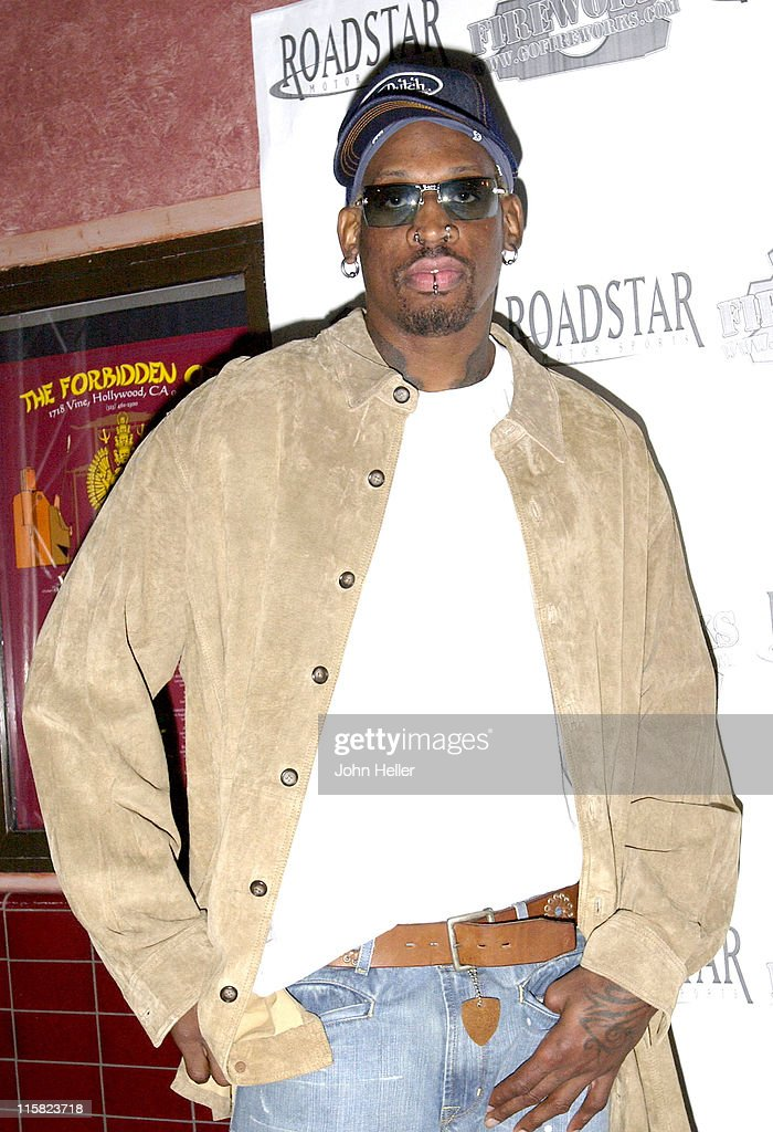 <a gi-track='captionPersonalityLinkClicked' href=/galleries/search?phrase=Dennis+Rodman&family=editorial&specificpeople=202643 ng-click='$event.stopPropagation()'>Dennis Rodman</a> during <a gi-track='captionPersonalityLinkClicked' href=/galleries/search?phrase=Dennis+Rodman&family=editorial&specificpeople=202643 ng-click='$event.stopPropagation()'>Dennis Rodman</a> Hosts NBA All Star After Party at The Forbidden City in Hollywood, CA, United States.