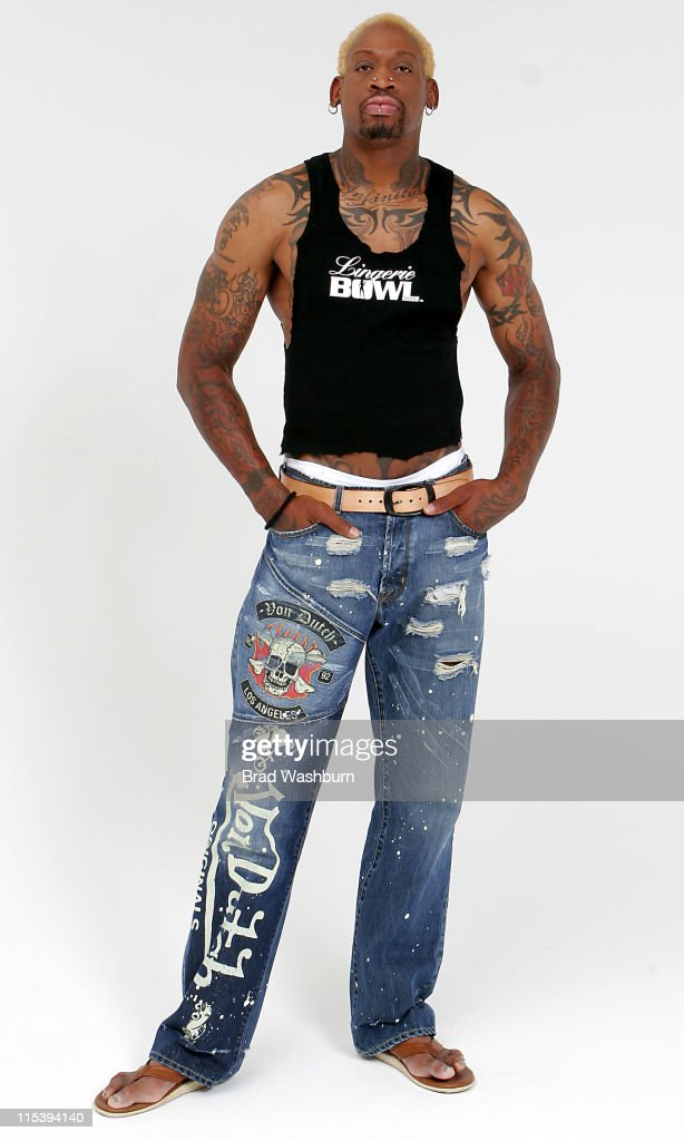 <a gi-track='captionPersonalityLinkClicked' href=/galleries/search?phrase=Dennis+Rodman&family=editorial&specificpeople=202643 ng-click='$event.stopPropagation()'>Dennis Rodman</a> during Lingerie Bowl 2006 Photoshoot with <a gi-track='captionPersonalityLinkClicked' href=/galleries/search?phrase=Dennis+Rodman&family=editorial&specificpeople=202643 ng-click='$event.stopPropagation()'>Dennis Rodman</a> and Jose Canseco at Lingerie Bowl 2006 Photoshoot in Long Beach, California, United States.