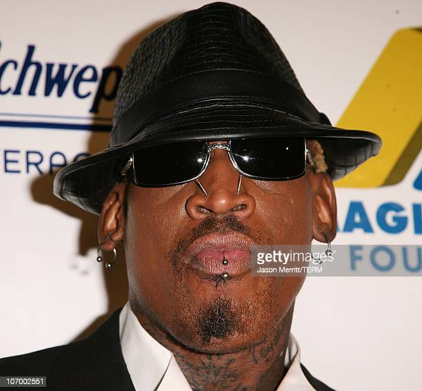 Dennis Rodman during 'Magic' Evolution An Evening Honoring Earvin 'Magic' Johnson Arrivals at Beverly Hilton in Beverly Hills California United States